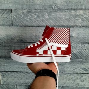 Vans Shoes - Vans Sk8 Hi Checkerboard / Chili Pepper Shoes